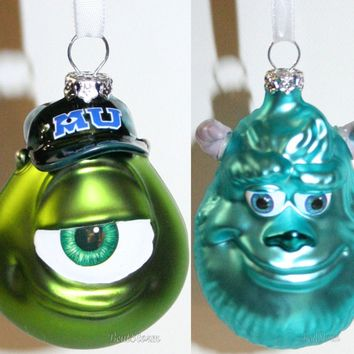 Licensed cool NEW Disney Hallmark Monsters University Mike & Sulley GLASS Christmas Ornament