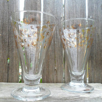 Vintage MID CENTURY Kahlua Cocktail Glasses /Atomic Barware Set of 2