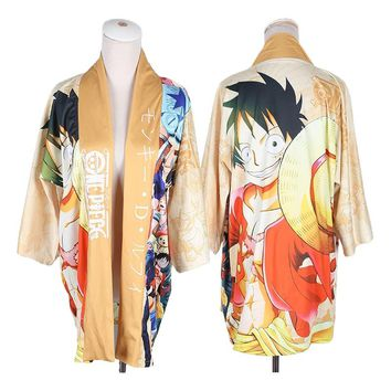 Anime One Piece Monkey D Luffy Cosplay Kimono Yukata Outerwear Daily Haori Clothes Casual Cloak Cheerleading Uniform