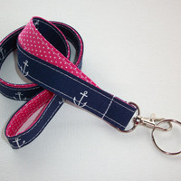 Lanyard  ID Badge Holder - Lobster clasp and key ring - design your own - navy blue white anchors -  pink dots - two toned double sided