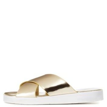 Gold Dollhouse Metallic Crisscross Slide Sandals