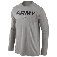 Army Black Knights Nike Wordmark Long Sleeve T-Shirt - Dark Gray