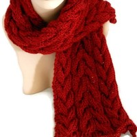 Hand Knit Cable Autumn Red Scarf