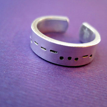 Morse Code Ring - Personalized Hand Stamped Ring - Skinny Band