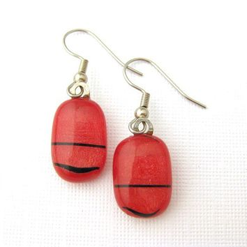Pierced Earrings, Dangle, Fused Glass Jewelry - Red Irredescent Glass with Black Stripes - Ruby Red - 498