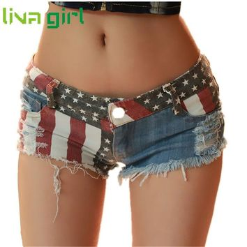 Summer Denim Shorts Wome Fashion Lady American US Flag Mini Shorts Jeans Girl Low Waist Ripped Hole Spliced Pants Pantalon Dec30