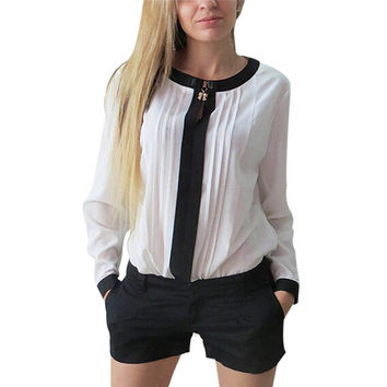 Women Chiffon blouses Long Sleeve Shirt Pleated Patchwork Office Blouses Tops camisa feminina