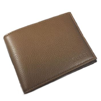 Gucci Men's Leather Embossed Logo Bi-fold Wallet 278596