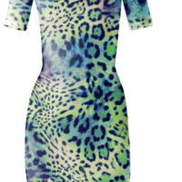 Be Still Green Animal Print Bodycon Dress