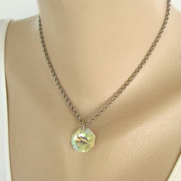 Aurora Borealis Crystal Pendant Necklace Rivoli Cut Colorful Vintage Jewelry