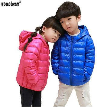 WEONEDREAM Duck Down Jacket Fashion Children Clothing Ultra Light Down Coat Boys Girls Winter Jacket Candy Color Kids Clothes
