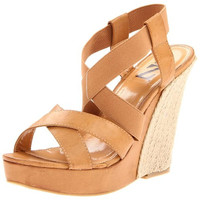 Type Z Womens Sina Faux Leather Stretch Wedges