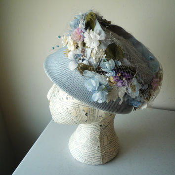 Vintage Derby Hat Mod Hat Tall Crown Bucket Hat Flowers Polka Dot Netting Union Made, SALE