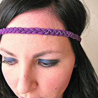 Festival leather braid headband, purple, hippie boho headband