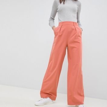 ASOS DESIGN wide leg trousers with pleat detail at asos.com