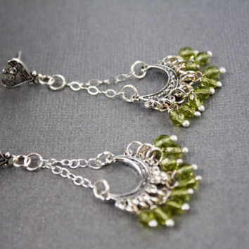 Silver Chandelier Earrings, Green beads wire wrapped, Sterling silver jewelry