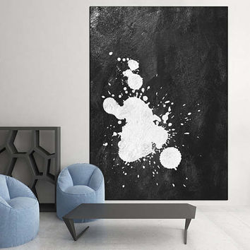 large original Painting on canvas, abstract acrylic painting, Abstract Canvas art for large wall decor Black and White