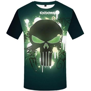 Skull 💀 Short Sleeve T Shirt Men Punisher Print