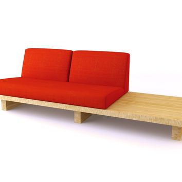 Modern Bamboo Sofa, Bamboo Float 2-Seater Two w/ End Table | Viesso