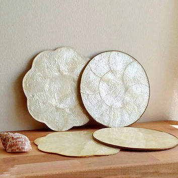 Small Capiz plates / chargers / candle holder base / Set of 4 / Beach wedding / Beach House / Boho home decor / Shells / Pearly white /