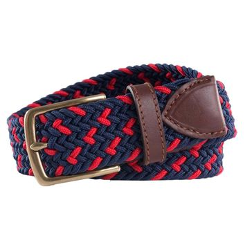 Braided Elastic Specked Web Belt in True Navy by Southern Tide