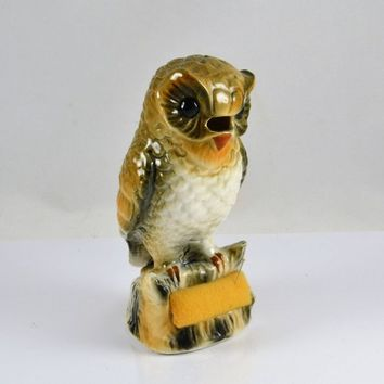 Owl Pin Cushion Scissors Holder - Vintage Pottery - Kitsch Sewing