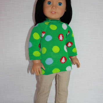 Christmas polka dot sweater, beige denim skinny jeans,18 inch doll clothes, American girl, Maplelea