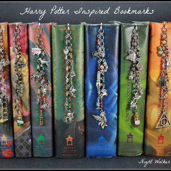 Harry Potter Inspired Bookmarks Full Set - 7 bookmarks, 39 charms, hand beading and wiring