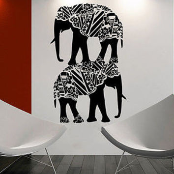 Elephant Wall Decal Family Decals Indian Boho Bedding Home Bedroom Decor C19