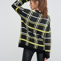 ASOS Oversized Sweater with Check Pattern at asos.com
