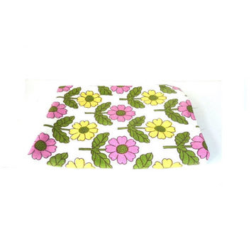 single vintage curtain . floral . flower power . yellow pink green . fabric . material . upcycle