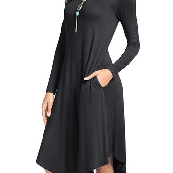 levaca Women's Plain Long Sleeve Pockets Pleated Loose Swing Casual Midi Dress