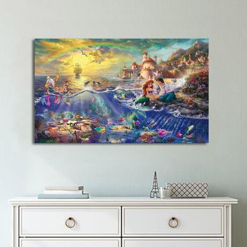 1 piece canvas art HD poster Little Mermaid Thomas Kinkade painting home decor