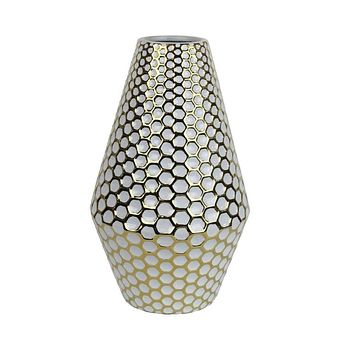 Behived Alluring Decorative Ceramic Vase, White & Gold