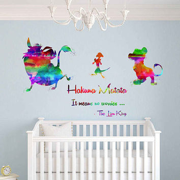 kcik2030 Full Color Wall decal Watercolor Character Sticker Disney children's room Hakuna matata quote The Lion King Pumba Timon Simba
