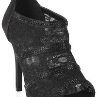 peep toe lace and satin high heel bootie with tonal stone accents - debshops.com
