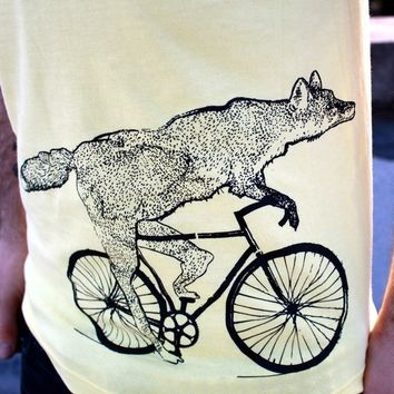 Mens T-Shirt BICYCLE shirt Fox on a Bike American Apparel Lemon Yellow TShirt