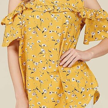 Off Shoulder Floral Print Ruffle Detail Tunic Top