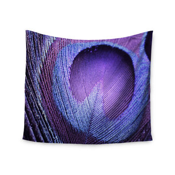 "Monika Strigel ""Purple Peacock"" Lavender Wall Tapestry"