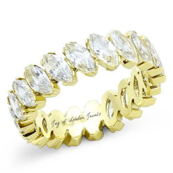 SALE   A Perfect 14K Gold 4TCW Marquise Cut Russian Lab Diamond Eternity Ring