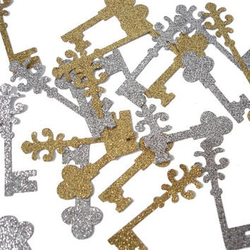 50 Glitter Vintage Keys Confetti, Key Party, Key Shaped Confetti - No1080