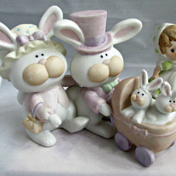 George Good Collectible Figurine Mama Papa Babies Bunnies and HOMCO Little Girl with Scarf Figurine Destash