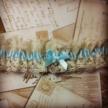 Alice in Wonderland - wedding garter, bridal garter, lace garter, blue garter, vintage garter, luxury garter, keepsake, heirloom, lingerie