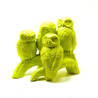 neon owl sculpture, lime green, owls, ceramic figurines, upcycled vintage, woodland, funky, unique decor, modern, summer trends, birds