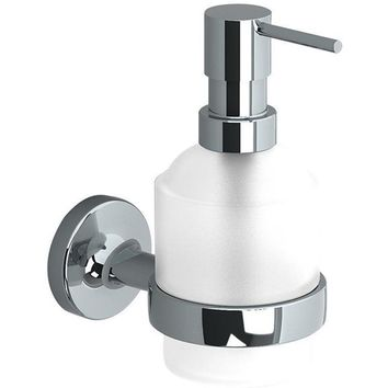Sonia E-PLUS Wall Mounted Glass Pump Soap Lotion Dispenser for Bath, Brass