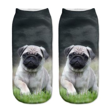 3D Bulldog Pugs Puppy  Cotton Polyester Casual Unisex Low Ankle Sock