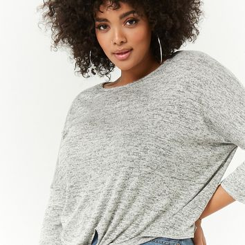 Plus Size Marled Tie-Front Top