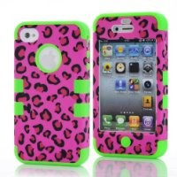 Bayke® iPhone 4 4S 3in1 Hybrid Impact Fashion Leopard Print Designer Case with Green Silicone