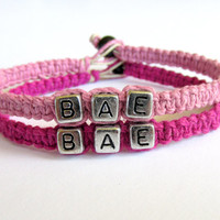 BAE Bracelets for Couples, BAE, Before Anyone Else, Light Pink and Punk Pink Handmade Hemp Jewelry