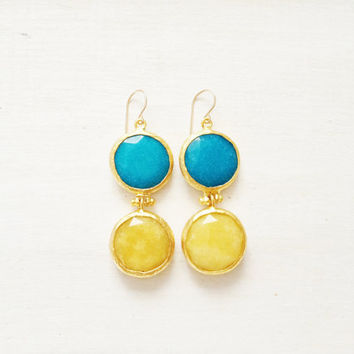 LARGE dangle long  DUAL bright sunshine yellow and blue sky gemstone earrings GOLD gemstone earrings Israel jewelry